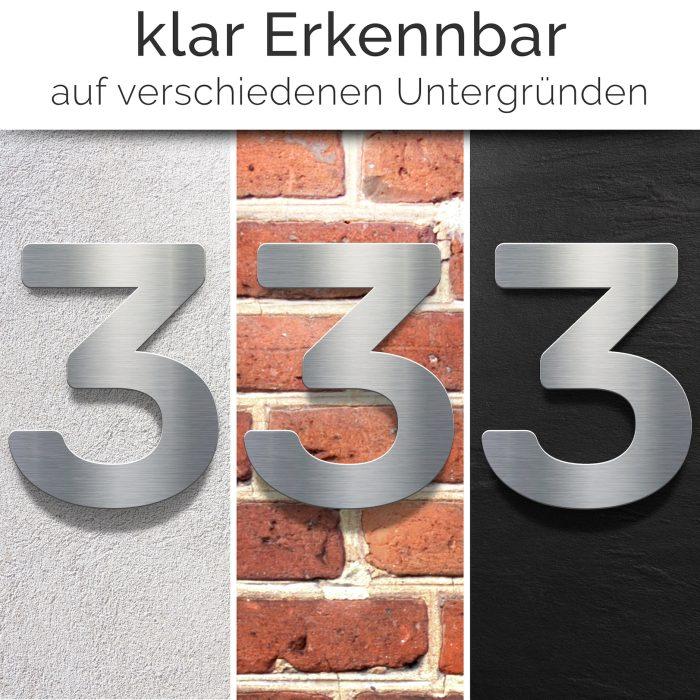 """Edelstahl Hausnummer 3 """"Essence"""" / N.03.E 2"""