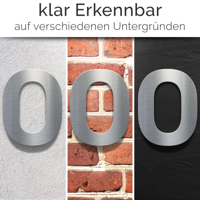"""Edelstahl Hausnummer 0 """"Essence"""" / N.10.E 2"""