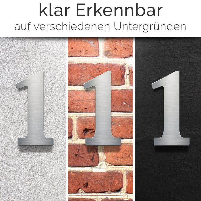 """Edelstahl Hausnummer 1 """"Classic"""" / N.21.E 2"""