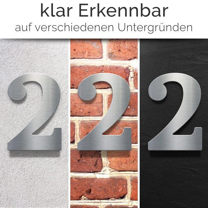 """Edelstahl Hausnummer 2 """"Classic"""" / N.22.E 2"""