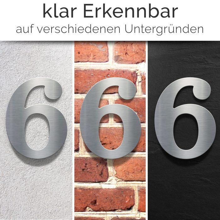 """Edelstahl Hausnummer 6 """"Classic"""" / N.26.E 2"""