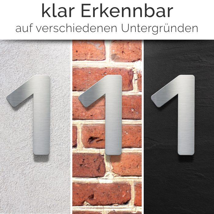 """Edelstahl Hausnummer 1 """"Essence"""" / N.01.E 3"""
