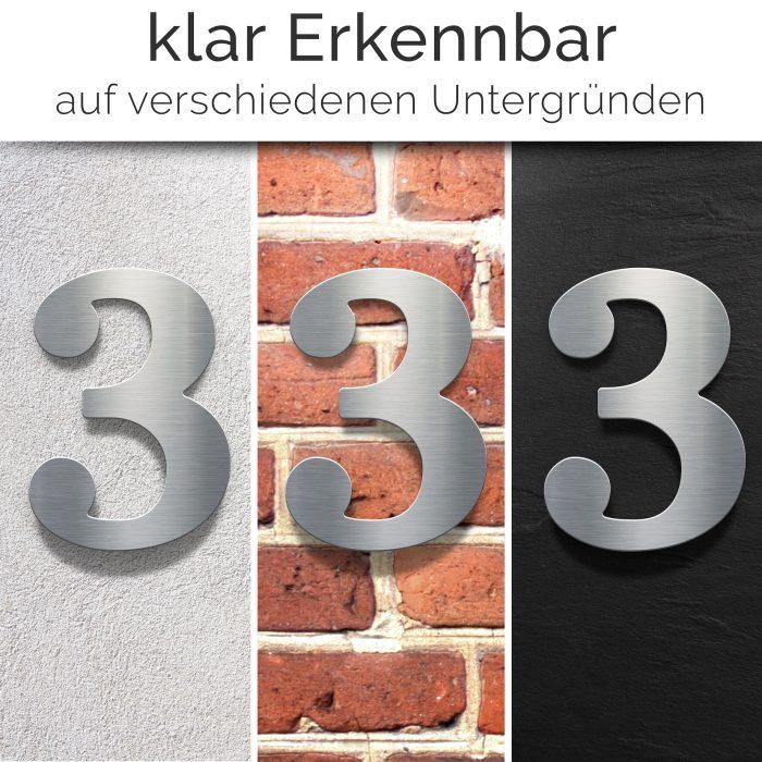 """Edelstahl Hausnummer 3 """"Classic"""" / N.23.E 2"""
