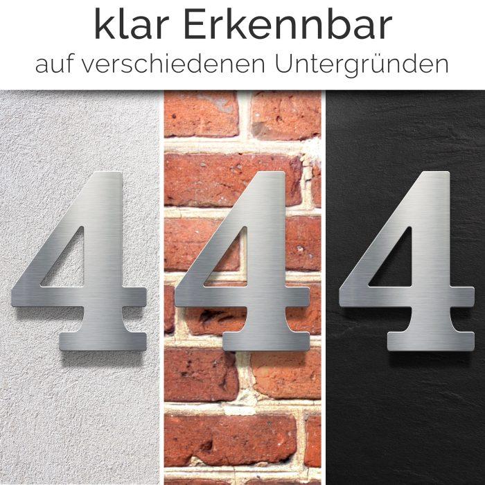 """Edelstahl Hausnummer 4 """"Classic"""" / N.24.E 2"""