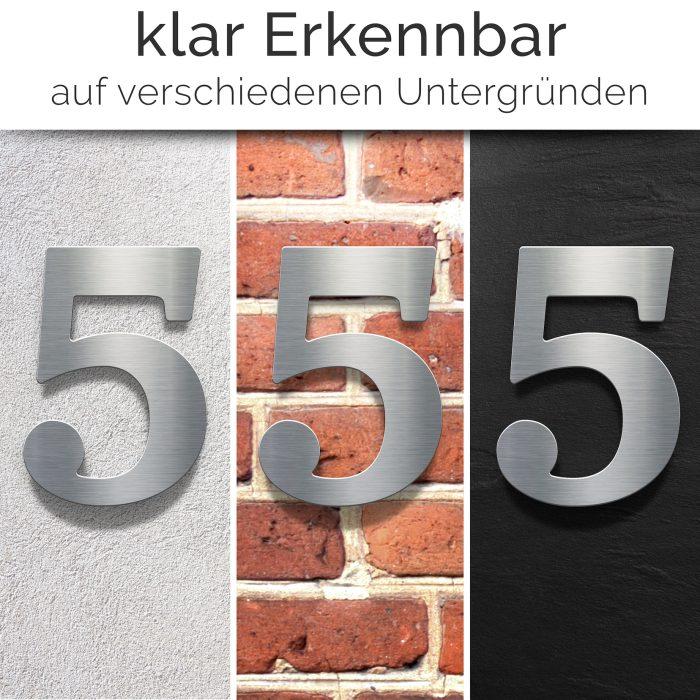 """Edelstahl Hausnummer 5 """"Classic"""" / N.25.E 2"""