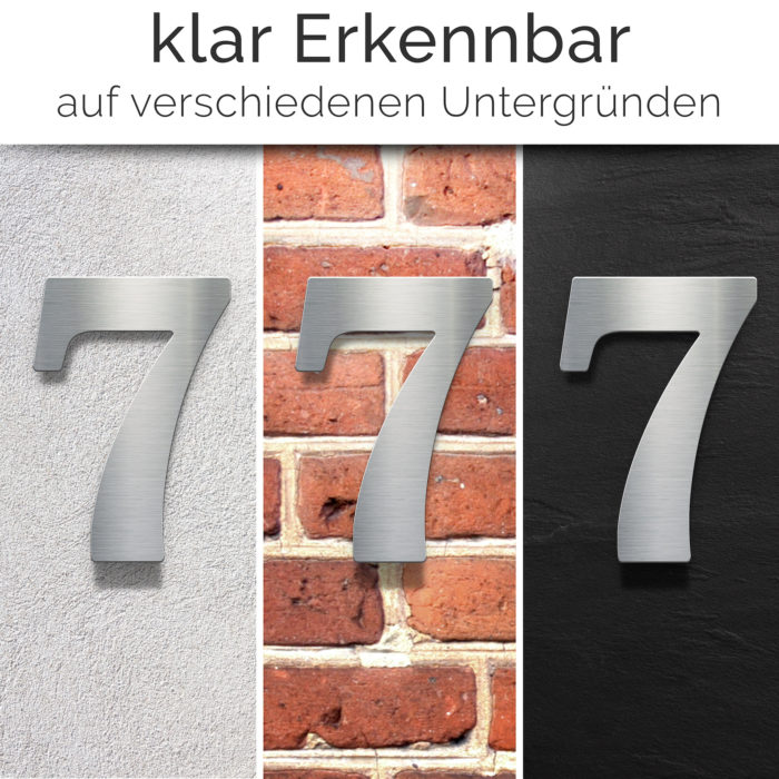 """Edelstahl Hausnummer 7 """"Classic"""" / N.27.E 2"""