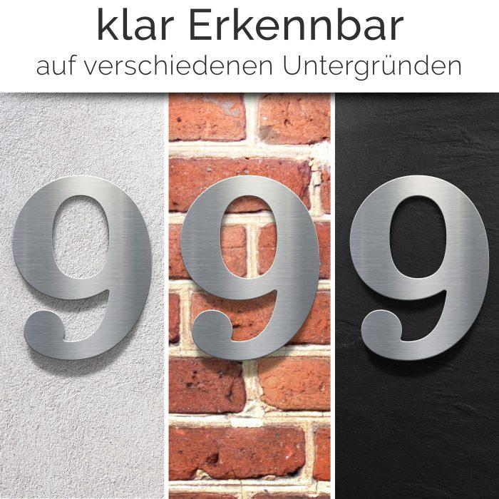"""Edelstahl Hausnummer 9 """"Classic"""" / N.29.E 2"""