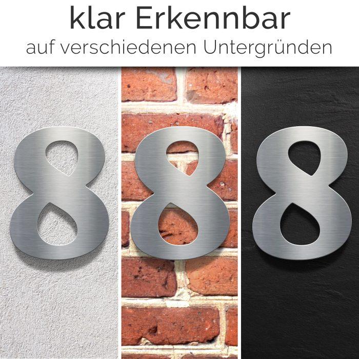 """Edelstahl Hausnummer 8 """"Classic"""" / N.28.E 2"""