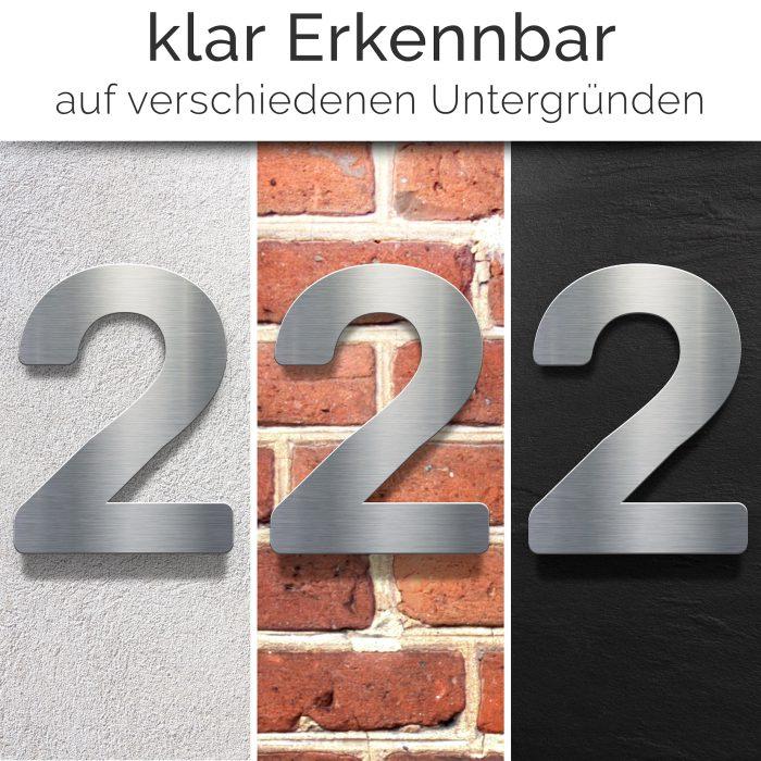 """Edelstahl Hausnummer 2 """"Essence"""" / N.02.E 2"""
