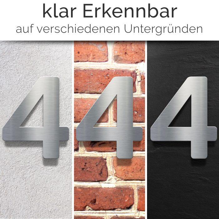 """Edelstahl Hausnummer 4 """"Essence"""" / N.04.E 2"""