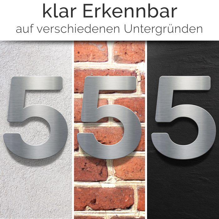 """Edelstahl Hausnummer 5 """"Essence"""" / N.05.E 2"""