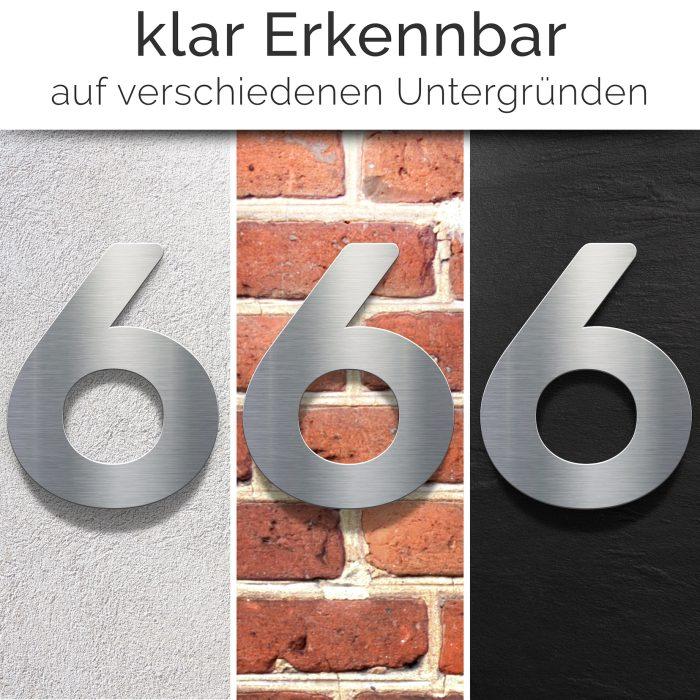 """Edelstahl Hausnummer 6 """"Essence"""" / N.06.E 2"""