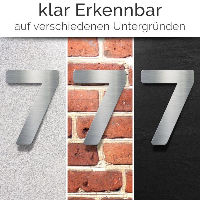"""Edelstahl Hausnummer 7 """"Essence"""" / N.07.E 2"""