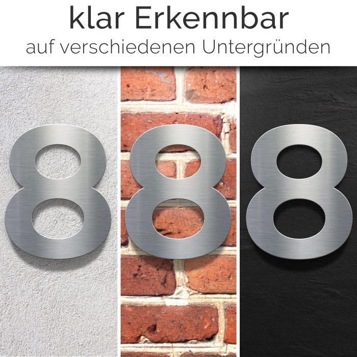 """Edelstahl Hausnummer 8 """"Essence"""" / N.08.E 2"""