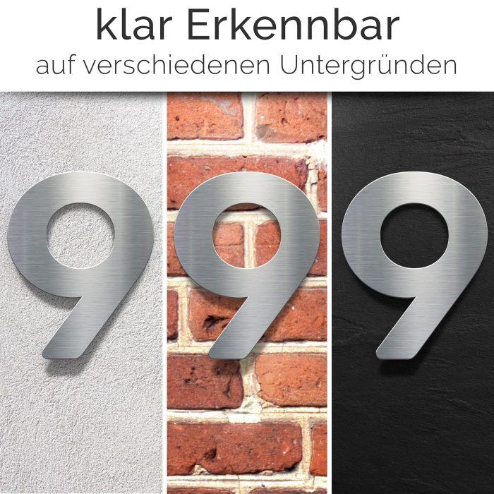 """Edelstahl Hausnummer 9 """"Essence"""" / N.09.E 2"""