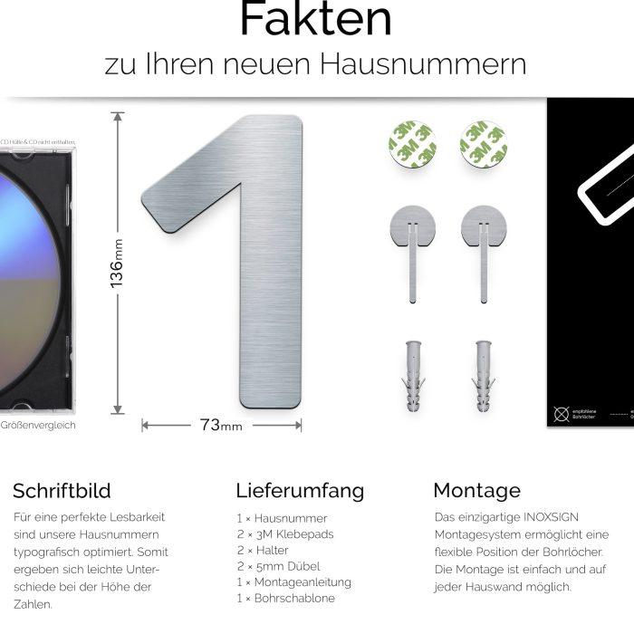 """Edelstahl Hausnummer 1 """"Essence"""" / N.01.E 2"""
