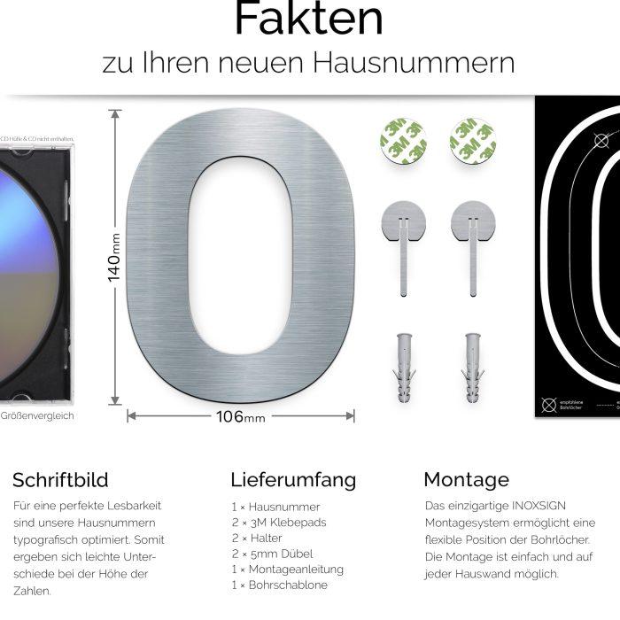 """Edelstahl Hausnummer 0 """"Essence"""" / N.10.E 3"""