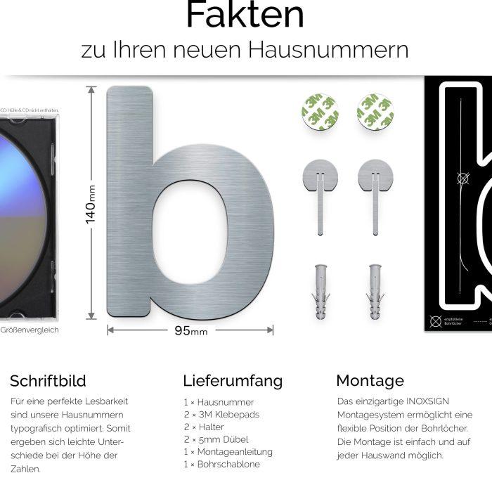 """Edelstahl Hausnummer b """"Essence"""" / N.12.E 3"""