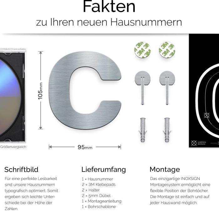 """Edelstahl Hausnummer c """"Essence"""" / N.13.E 3"""