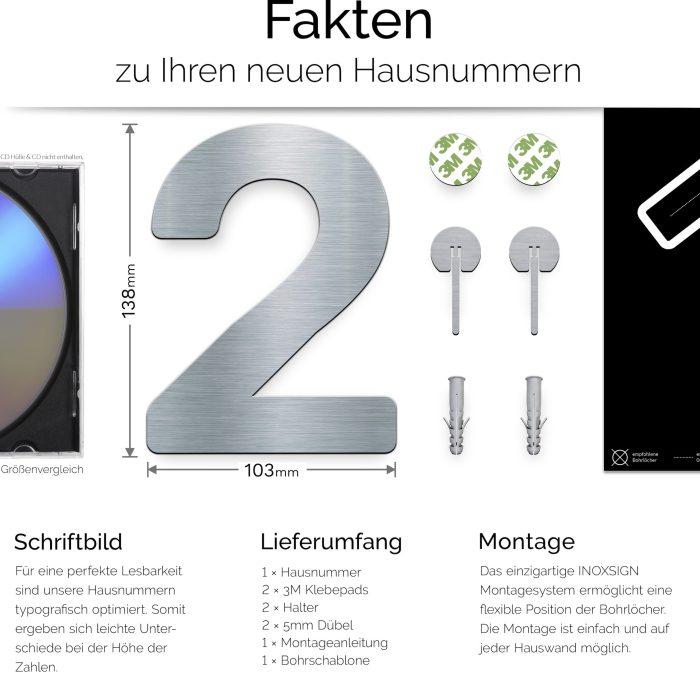 """Edelstahl Hausnummer 2 """"Essence"""" / N.02.E 3"""