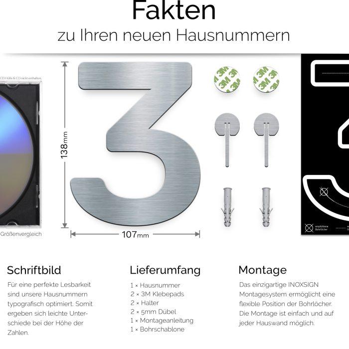 """Edelstahl Hausnummer 3 """"Essence"""" / N.03.E 3"""