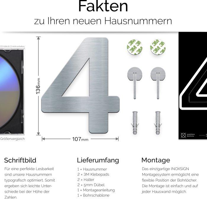 """Edelstahl Hausnummer 4 """"Essence"""" / N.04.E 3"""