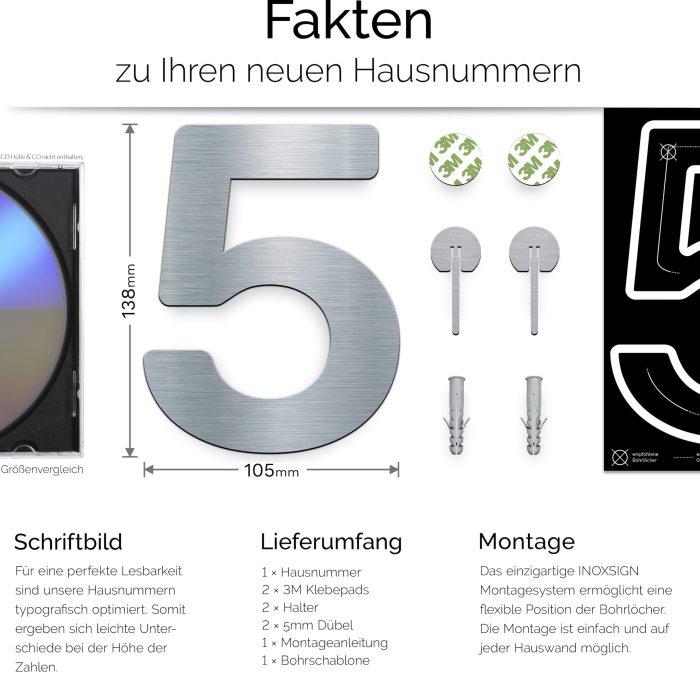 """Edelstahl Hausnummer 5 """"Essence"""" / N.05.E 3"""