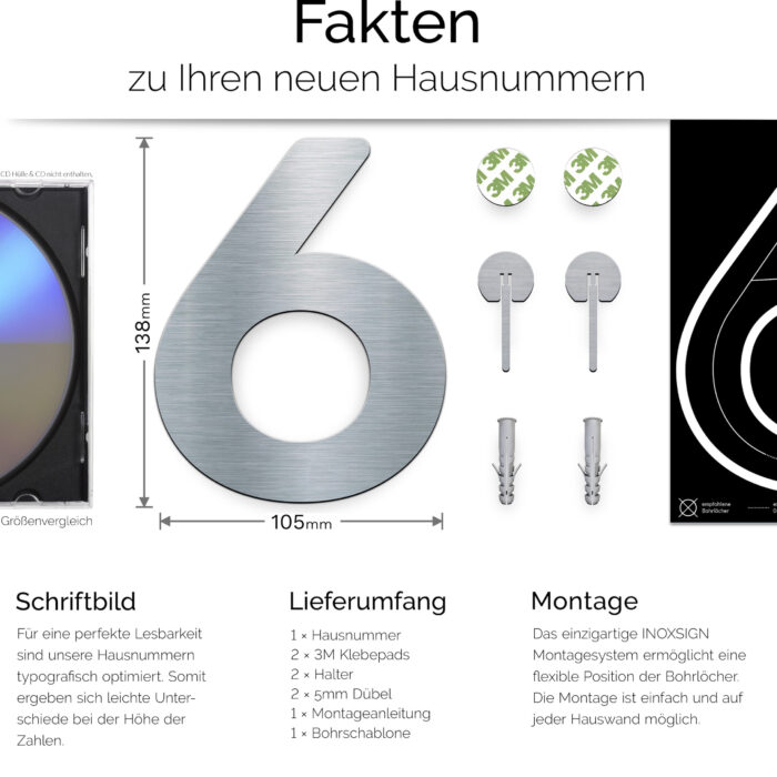"""Edelstahl Hausnummer 6 """"Essence"""" / N.06.E 3"""