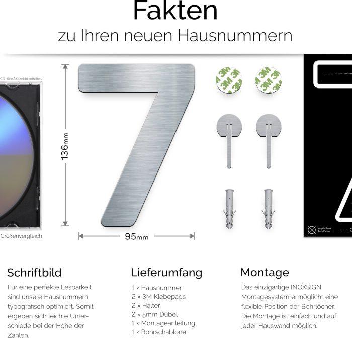 """Edelstahl Hausnummer 7 """"Essence"""" / N.07.E 3"""