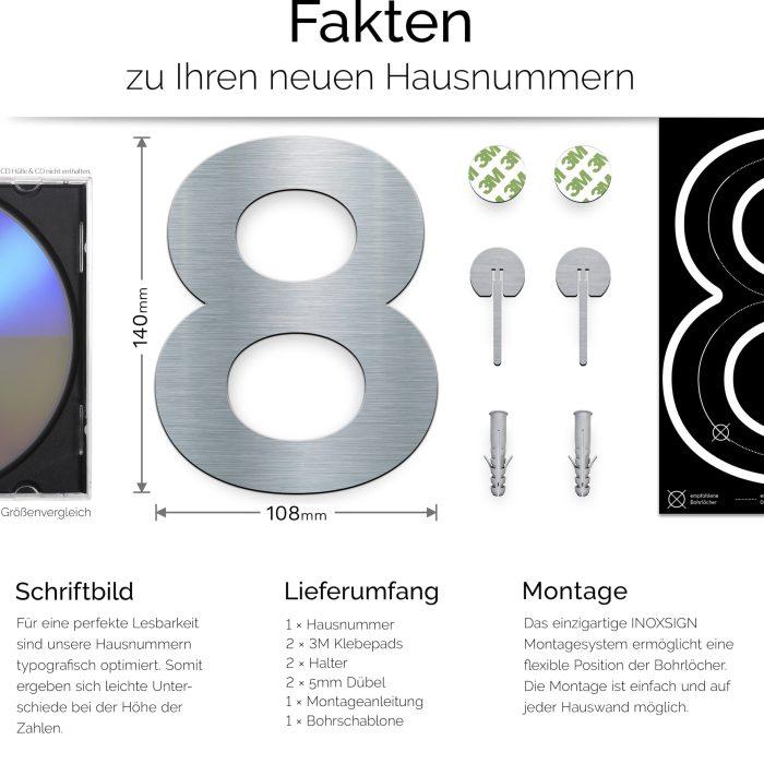 """Edelstahl Hausnummer 8 """"Essence"""" / N.08.E 3"""