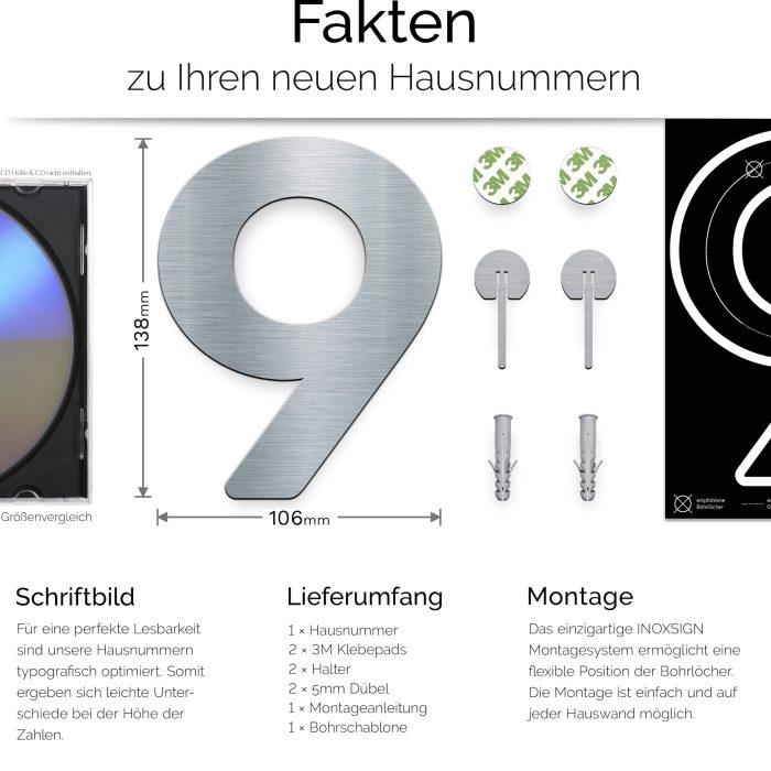 """Edelstahl Hausnummer 9 """"Essence"""" / N.09.E 3"""