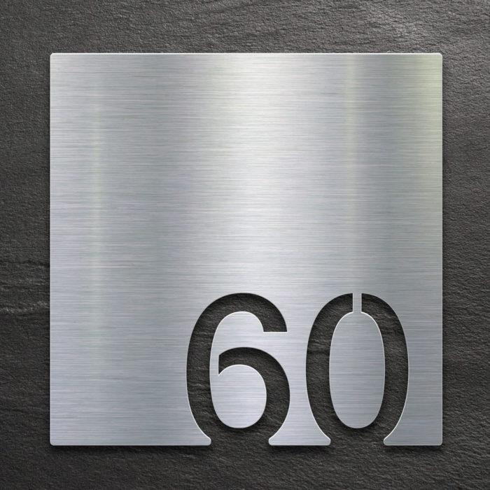 Edelstahl Zimmernummer 60 / Z.03.060.E 1