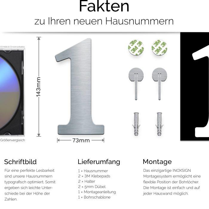 """Edelstahl Hausnummer 1 """"Classic"""" / N.21.E 3"""