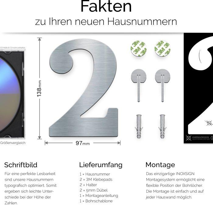 """Edelstahl Hausnummer 2 """"Classic"""" / N.22.E 3"""