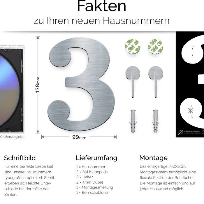 """Edelstahl Hausnummer 3 """"Classic"""" / N.23.E 3"""