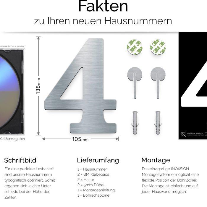 """Edelstahl Hausnummer 4 """"Classic"""" / N.24.E 3"""