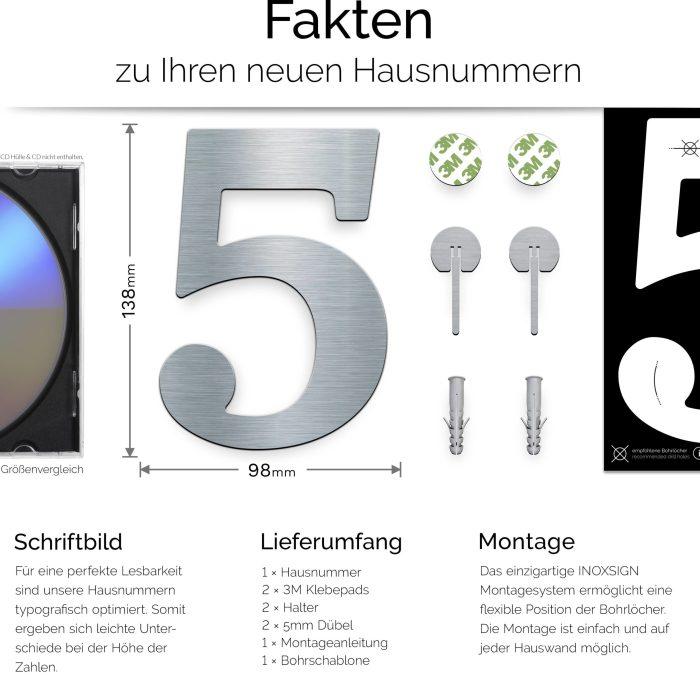 """Edelstahl Hausnummer 5 """"Classic"""" / N.25.E 3"""