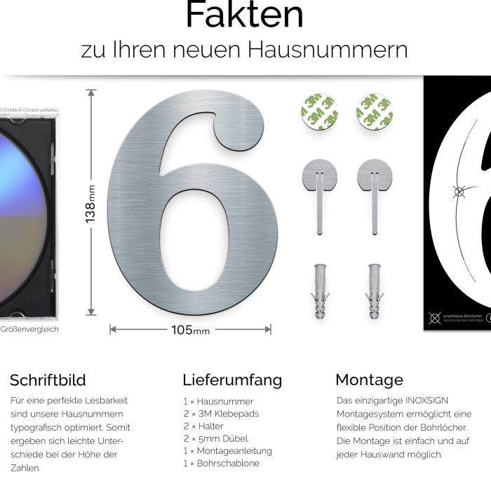 """Edelstahl Hausnummer 6 """"Classic"""" / N.26.E 3"""