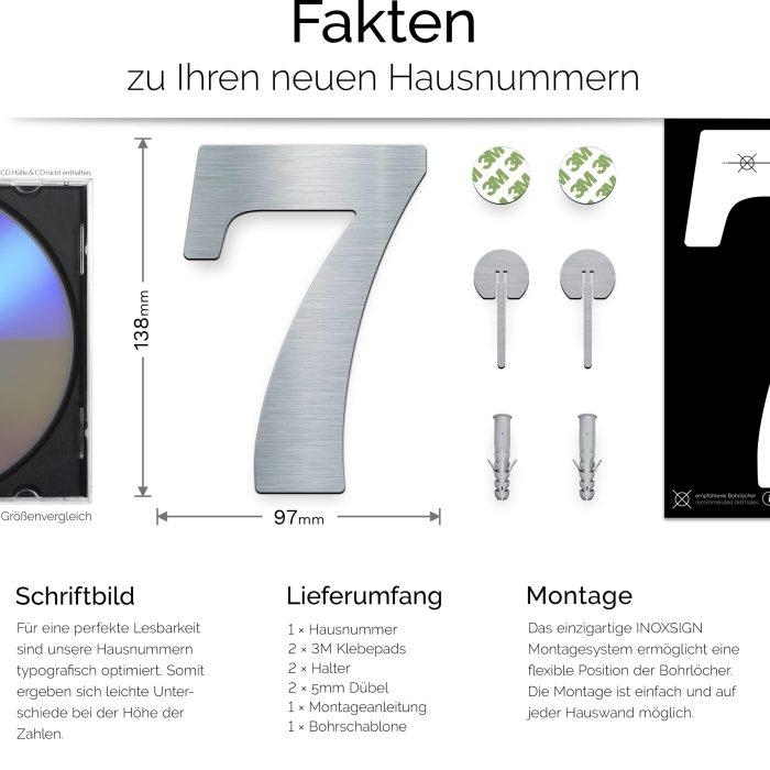 """Edelstahl Hausnummer 7 """"Classic"""" / N.27.E 3"""