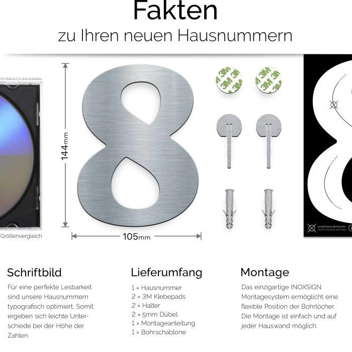 """Edelstahl Hausnummer 8 """"Classic"""" / N.28.E 3"""