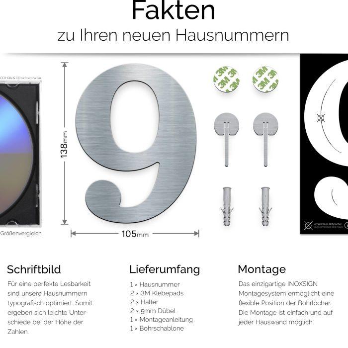 """Edelstahl Hausnummer 9 """"Classic"""" / N.29.E 3"""